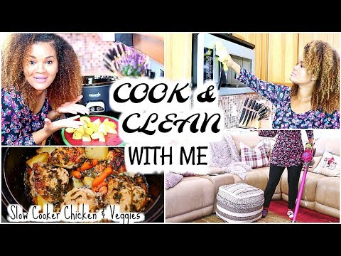 COOK & CLEAN WITH ME - Motivating Cleaning + Slow Cooker Recipe