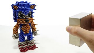 Monster Magnets Vs Sonic The Hedgehog   DIY How To Make Sonic With Magnetic Balls