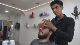 YOUNG TURKISH BARBER FACE MASSAGE•HEAD MASSAGE•BACK MASSAGE ~ ASMR MASSAGE 322
