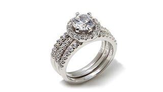 Absolute Pav Frame 3piece Bridal Ring Set