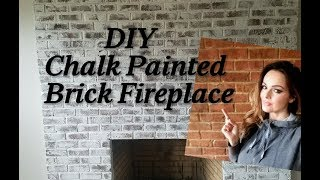 DIY Chalk Painted Brick Fireplace French Country Farmhouse Style