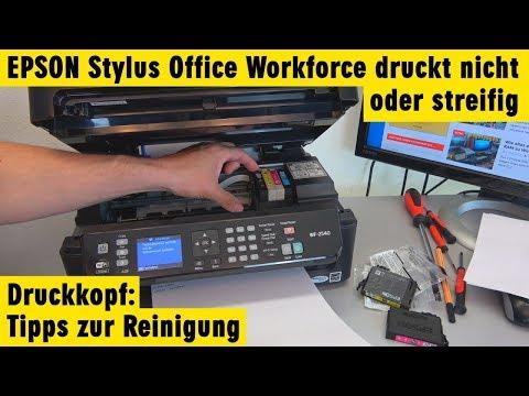 Epson Drucker Stylus Workforce druckt nicht oder streifig - Tipps Druckkopf reinigen