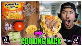 We TASTED Viral TikTok Cooking Life Hacks... (GIANT RAMEN TACOS?!) *Part 15*