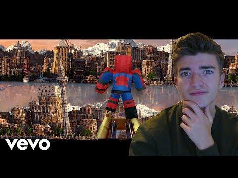 "Reacting to ""Sunflower"" Minecraft Music Video Post Malone, Swae Lee Spider-Man Into the Spider-Verse"