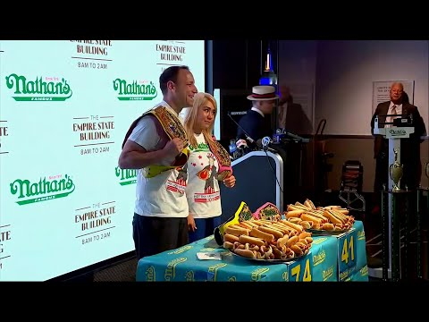 Eleven-time men's champion Joey Chestnut and and five time women's champion, Miki Sudo weighed-in for the annual Nathan's Famous International Fourth of July hot dog-eating contest. (July 3)