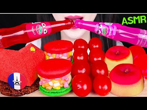 ASMR RED FOODS *TWIST DRINK, HEART CAKE, TIKTOK JELLO 빨간색 음식 *트위스트 음료수, 하트 케이크, 젤리 먹방 EATING SOUNDS