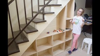 Building Shelves under the Staircase with Storage || D.A Santos
