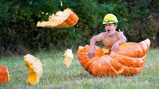 Rolled Him Down A Hill In A Giant Halloween Pumpkin! | Ross Smith