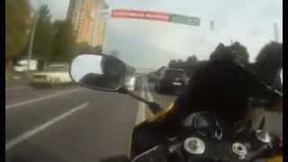 Seven minutes of extreme driving in the city Russian rocker on a motorcycle