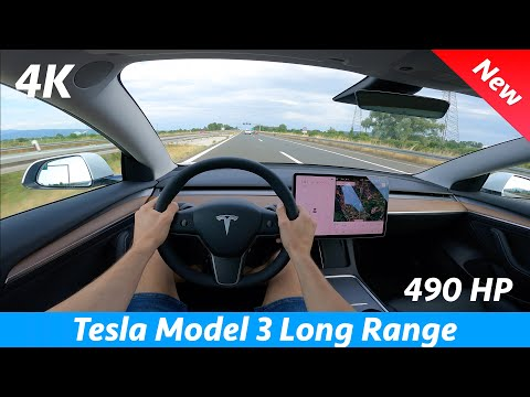 Tesla Model 3 Long Range 2021 Refresh - POV test drive in 4K | Dual Motor 490 HP, Acceleration 0-100