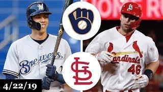 Milwaukee Brewers Vs St. Louis Cardinals Highlights   April 22, 2019