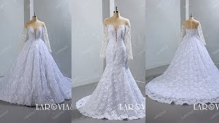 Lace And Tulle Wedding Dresses Detachable Skirt With Long Sleeves LR073
