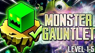 [MONSTER GAUNTLET] ALL LEVELS 100% [LEVEL 1-5] | GEOMETRY DASH 2.11 [THE LOST GAUNTLETS]