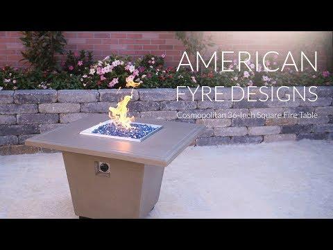 American Fyre Designs Cosmopolitan 36-Inch Square Fire Table - Smoke