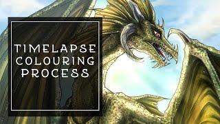 Dragon Illustration - Colouring Process - Paint Tool SAI Timelapse/Speedpaint