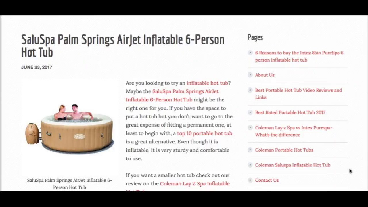 saluspa palm springs airjet inflatable 6person hot tub