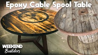Epoxy Cable Spool Table (INCREDIBLE RESULT) [subtitles Included]