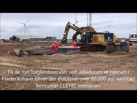 Bentomat bentonitmembran installeres på havnen i Frederikshavn