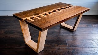 "Live Edge River ""Zipper"" Table 