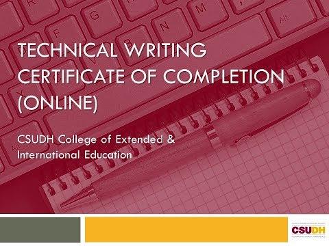 CSUDH Technical Writing Certificate Webinar 2018 - YouTube