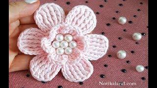 DIY Tutorial Crochet  Flower EASY  How To Crochet Flowers