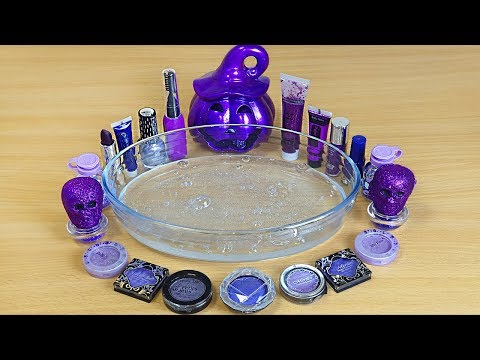 Halloween Slime Purple Mixing makeup and glitter into Clear Slime