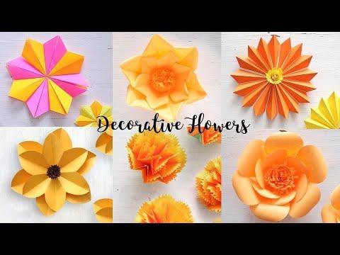 6 easy diy paper flowers flower making ventuno art video 6 easy paper flowers flower making diy mightylinksfo