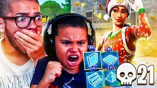 MY LITTLE BROTHER OFFICIALLY SWITCHED TO BUILDER PRO!! BREAKS HIS PERSONAL RECORD KILLS! FORTNITE BR