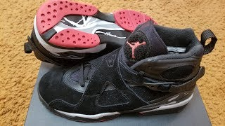 "On Feet Only! Air Jordan Retro 8 ""Bred"" GS! ""Black Cement""?!? | Kholo.pk"