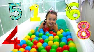 Learn Numbers 1-10  for toddlers in the Slime Baff ! Numbers Counting to 10 with Ball Pit Balls
