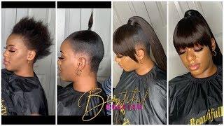 SHORT HAIR TRANSFORMATION 😍 Genie Ponytail With fringe Bang😍  Using Visso Pack Hair