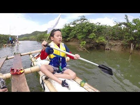 種子島の学校活動:平山小学校大浦川いかだ下り体験2019年