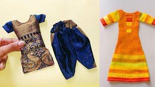 Making Doll Dress Kurtis   How To Make Mini Patiyala Suit
