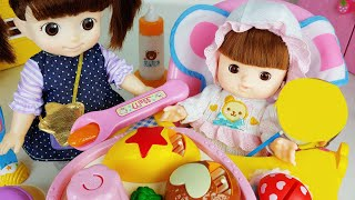 Baby doll house play and car toys lunch box food play - ToyMong TV 토이몽