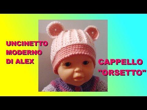 """CAPPELLO UNCINETTO BAMBINO CON ORECCHIE """"ORSETTO"""" tutorial TUTTE LE MISURE Alex Crochet"""