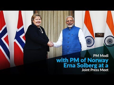 PM Modi with PM of Norway Erna Solberg at a Joint Press Meet