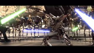 Obi-Wan vs General Grevious but every time their lightsabers clash a 'yee' sound effect plays