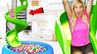 Transforming my Stairs into a GiANT SPiRAL SLiDE inside my HOUSE! (Box Fort vs. Ball pit)