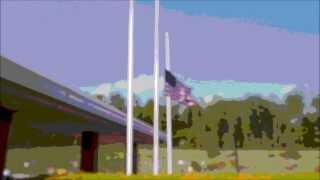 American flag flying at half-mast