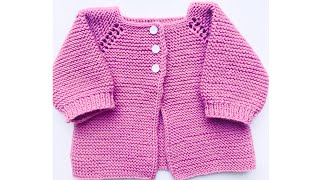 How to knit newborn baby cardigan jacket or coat EASY