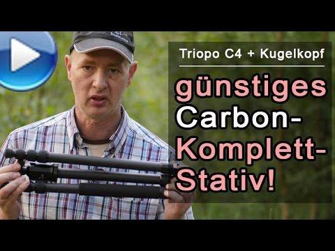 preiswertes Carbonstativ, hoch ausziehbar, mit Kugelkopf!