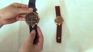 Stylish Round Dial Wristwatch with Oxhide Band
