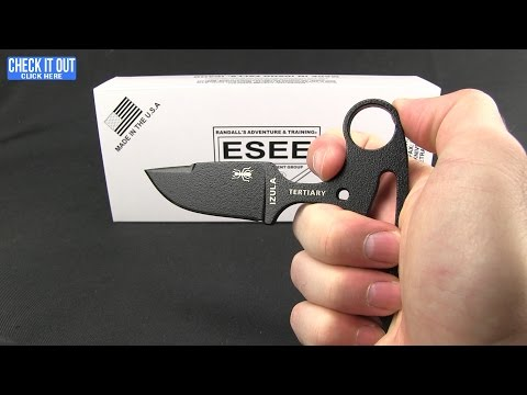 "ESEE Knives Izula Tertiary Push Dagger Fixed Blade Knife Black G-10 (2.6"" Black)"