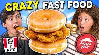 Generations React To CRAZY Fast Food (KFC Donut Sandwich, Pizza Hut Cheez It Pizza)