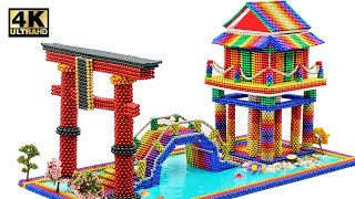 DIY - How To Build Japanese Temple From Magnetic Balls (Satisfying)   Magnet World Series