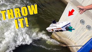 I THREW A JET BOAT off a BRIDGE! THIS HAPPENED: STREAMLINE RC V3 THRASHER | RC ADVENTURES