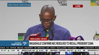 No deadline set for Zuma to respond to ANC NEC letter - Magashule