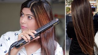 How to Straighten Your Hair with a Hair Straightener / Flat Iron (Hindi)