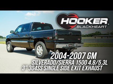 2004-2007 GM Silverado/Sierra 1500 4.8/5.3L - Hooker Blackeart Cat-Back Exhaust 705014159RHKR