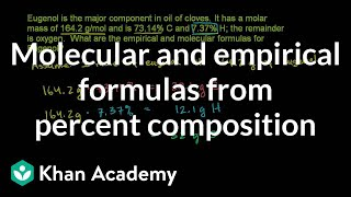 Molecular and Empirical Forumlas from Percent Composition